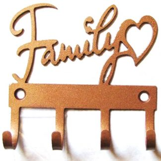 metal love of family wall sign key hooks